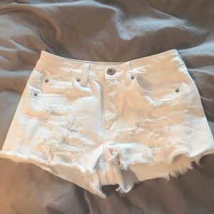 American Eagle denim ripped white jean shorts